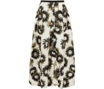 Elena Pleated Fil Coupé Cotton-blend Organza Midi Skirt Off-white Size 14