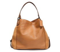 Paneled leather and suede tote