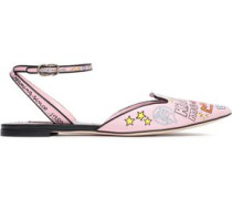 Woman Printed Leather Slingback Point-toe Flats Baby Pink
