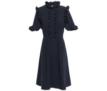Woman Ruffle-trimmed Pintucked Cady Dress Navy