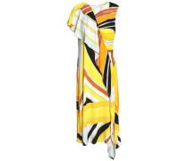 Draped printed stretch-jersey dress