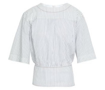 Striped Cotton-jacquard Top White