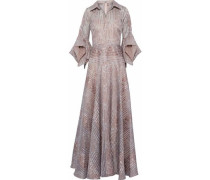 Ruffled woven-paneled floral-jacquard gown