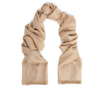 Frayed metallic cashmere and silk-blend scarf