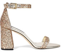 Lillian Mirrored Leather-trimmed Glittered Woven Sandals Gold