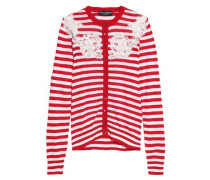 Lace-paneled Striped Silk Cardigan Red
