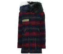 Shearling-trimmed Checked Wool Hooded Coat Plum