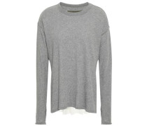 Paneled Cotton And Cashmere-blend Top Gray
