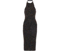 Beaded Cotton-mesh Halterneck Midi Dress Black