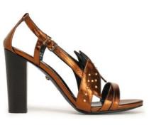 Studded metallic leather sandals