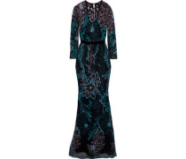 Velvet-trimmed Embroidered Tulle Gown Black Size 0