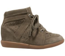 Étoile Bobby Suede Wedge Sneakers Army Green