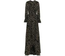 Ruffled Floral-print Georgette Maxi Dress Black