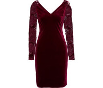 Guipure Lace-paneled Velvet Dress Plum