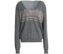 Chantilly lace-trimmed printed wool-blend sweater