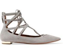 Belgravia lace-up cutout suede point-toe flats