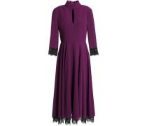 Lace-trimmed Cutout Crepe De Chine Midi Dress Plum