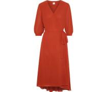 Summer Crepe De Chine Midi Wrap Dress Tomato Red