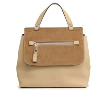Suede-paneled textured-leather tote