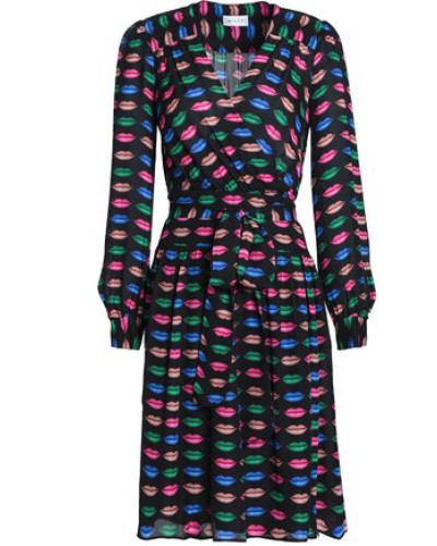 Katy printed silk-crepe wrap dress