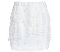 Tiered Cotton-blend Lace Mini Skirt White