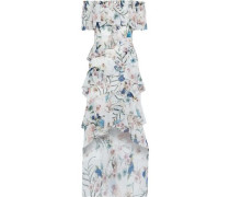 Off-the-shoulder Ruffled Floral-print Chiffon Gown White