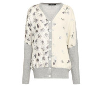 Floral-print Crepe-paneled Silk And Cotton-blend Cardigan Ivory