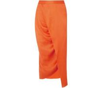 Woman Wrap-effect Plissé Silk-satin Midi Skirt Orange