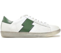 Distressed Appliquéd Leather Sneakers White