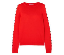Button-embellished Silk Sweater Red
