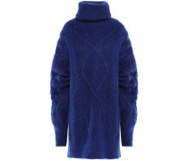 Woman Oversized Brushed Cable-knit Turtleneck Sweater Royal Blue
