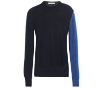 Two-tone Cashmere Sweater Midnight Blue