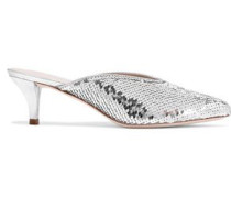 Juno Metallic Leather-trimmed Sequined Woven Mules Silver