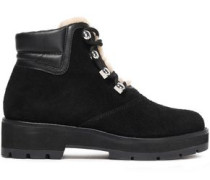 Lace-up Leather-trimmed Shearling Ankle Boots Black