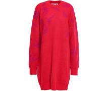 Jacquard-knit Mini Dress Red