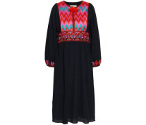 Embroidered Cotton-gauze Dress Navy