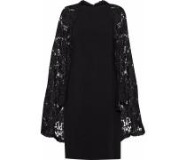 Woman Cape-effect Guipure Lace-paneled Crepe Dress Black