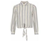 Tie-front striped cotton-gauze shirt