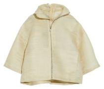 Coated woven calf hair-blend jacket