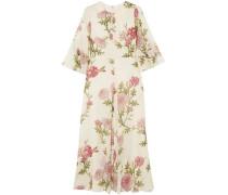 Gathered Floral-print Silk-chiffon Midi Dress Ivory