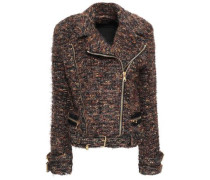 Metallic Tweed Biker Jacket Brown