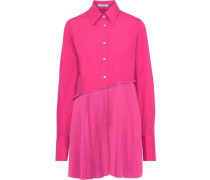Layered Pleated Crepe De Chine-paneled Cotton-poplin Shirt Bright Pink
