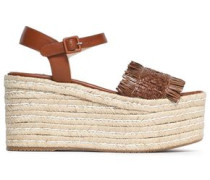 Fringed woven leather platorm espadrille sandals