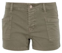 Cotton-blend twill shorts