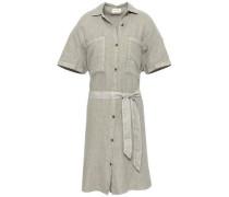 Belted Linen Shirt Dress Sage Green Size ONESIZE