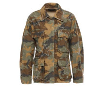 Studded Distressed Printed Cotton Jacket Army Green