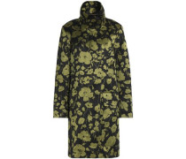 Floral-print cotton and silk-blend coat