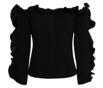 Off-the-shoulder Ruffle-trimmed Crepe Top Black