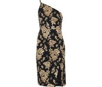 One-shoulder Metallic Floral-jacquard Dress Black Size 0