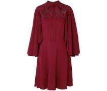 Pussy-bow Guipure Lace-paneled Crepe Dress Claret